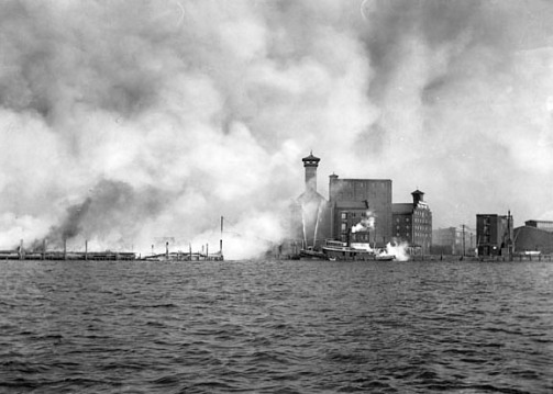SVF - Baltimore - Fires & Explosions - 1904 - Harbor. Pier Scene with fire boats. Photograph 5x7 inch black & white negative Special Collections Subject Vertical File Z24.61.VF
